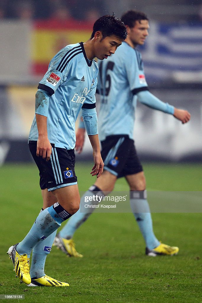 Heung-Min Son of Hamburg looks dejected during the Bundesliga match between Fortuna Duesseldorf and Hamburger SV at Esprit-Arena on November 23, 2012 in Duesseldorf, Germany.