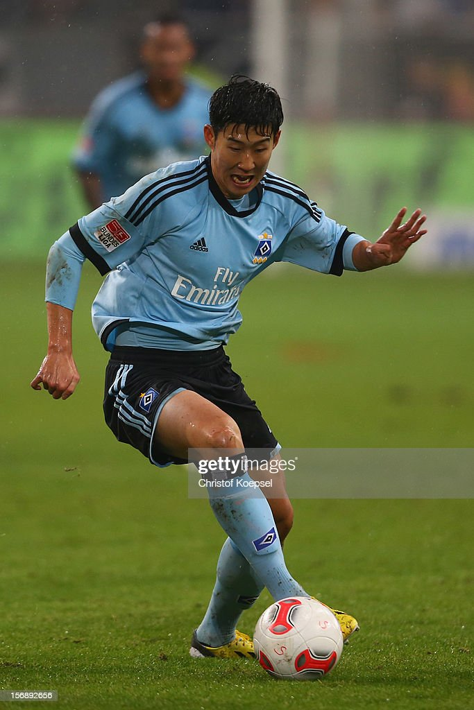 Heung-Min Son of Hamburg runs with the ball during the Bundesliga match between Fortuna Duesseldorf and Hamburger SV at Esprit-Arena on November 23, 2012 in Duesseldorf, Germany.
