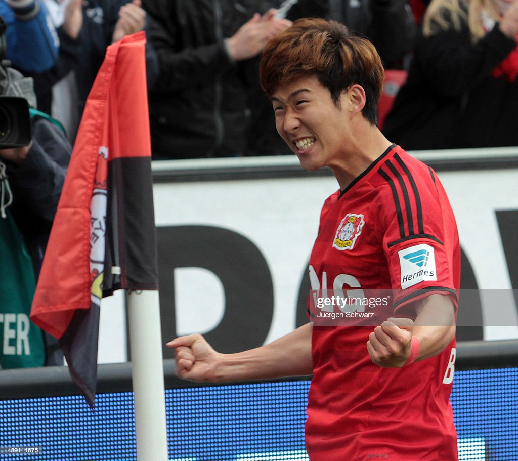 <a gi-track='captionPersonalityLinkClicked' href=/galleries/search?phrase=Heung-Min+Son&family=editorial&specificpeople=7118687 ng-click='$event.stopPropagation()'>Heung-Min Son</a> of Leverkusen celebrates after scoring during the Bundesliga match between Bayer 04 Leverkusen and Werder Bremen at BayArena on May 10, 2014 in Leverkusen, Germany.