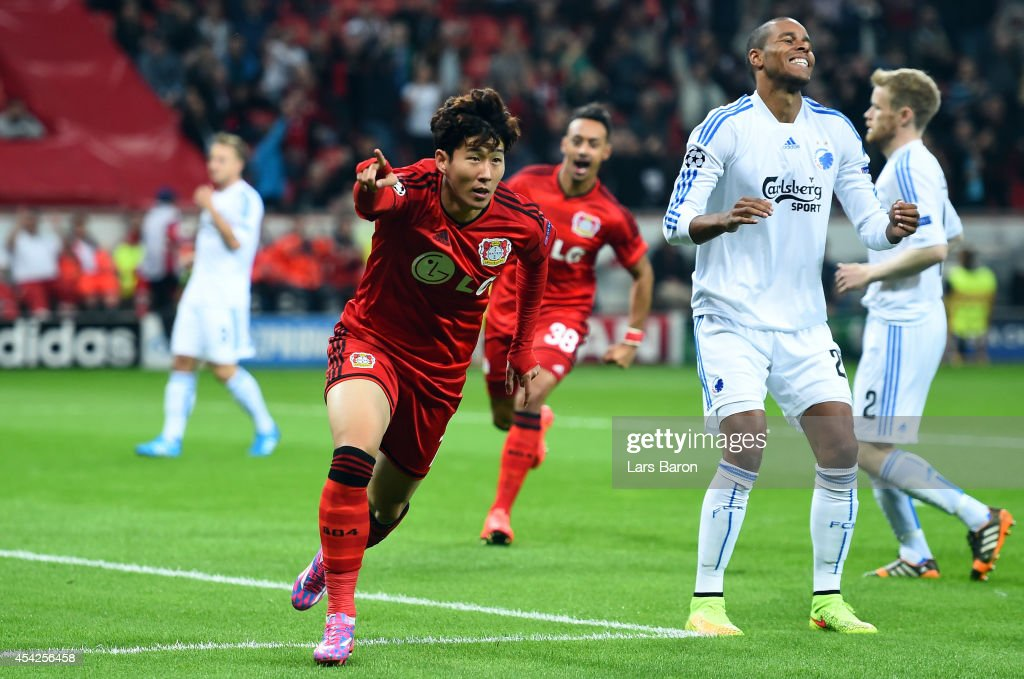 <a gi-track='captionPersonalityLinkClicked' href=/galleries/search?phrase=Heung-Min+Son&family=editorial&specificpeople=7118687 ng-click='$event.stopPropagation()'>Heung-Min Son</a> of Leverkusen celebrates after scoring his teams first goal during the UEFA Champions League Qualifying Play-Offs Round second leg match between Bayer Leverkusen and FC Copenhagen on August 27, 2014 in Leverkusen, Germany.