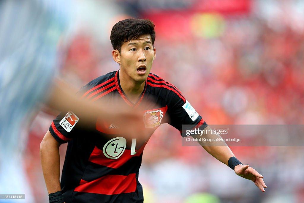 Heung-Min Son of Leverkusen is seen during the Bundesliga match between Bayer Leverkusen and 1899 Hoffenheim at BayArena on August 15, 2015 in Leverkusen, Germany.