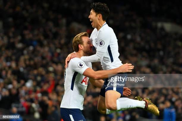 HeungMin Son of Tottenham celebrates Harry Kane's goal during Premier League match between Tottenham Hotspur against Stoke City at Wembley stadium...