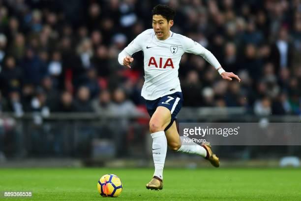 HeungMin Son of Tottenham during Premier League match between Tottenham Hotspur against Stoke City at Wembley stadium London England on 09 Dec 2017