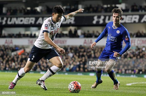 HeungMin Son of Tottenham Hotspur and Ben Chilwell of Leicester City in action during the Emirates FA Cup Third Round match between Tottenham Hotspur...