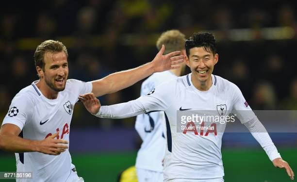 HeungMin Son of Tottenham Hotspur and Harry Kane of Tottenham Hotspur celebrates after HeungMin Son of Tottenham Hotspur scored their sides second...