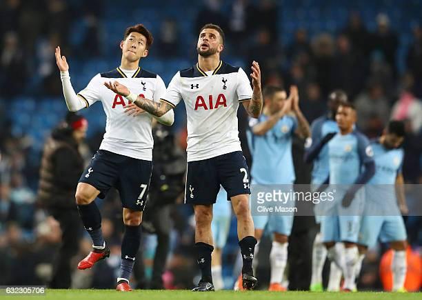 HeungMin Son of Tottenham Hotspur and Kyle Walker of Tottenham Hotspur celebrate after the Premier League match between Manchester City and Tottenham...