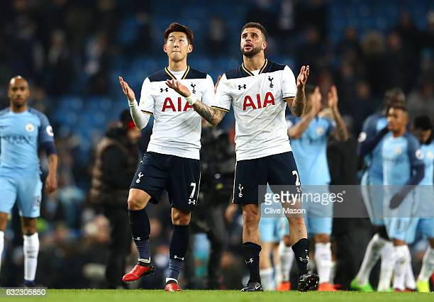 HeungMin Son of Tottenham Hotspur and Kyle Walker of Tottenham Hotspur celebrate after the Premier League match between Manchester City and Tottenham...