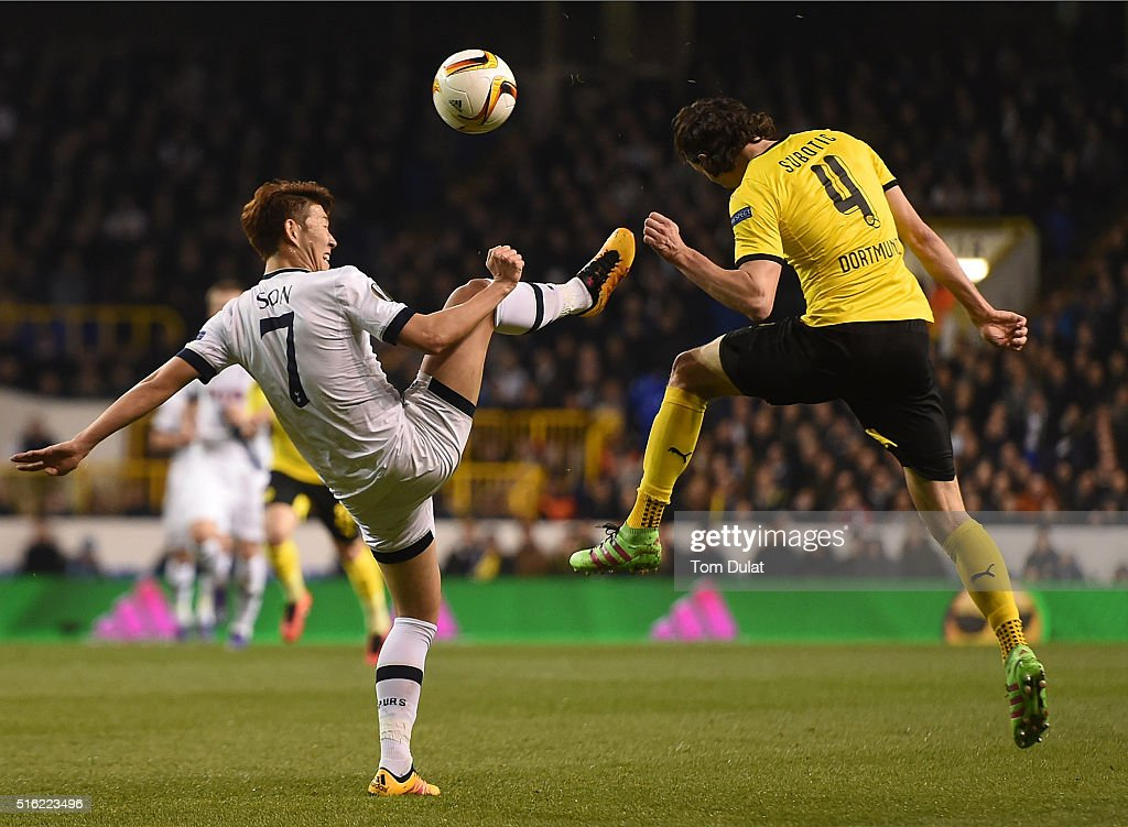 Heung-Min Son of Tottenham Hotspur and Neven Subotic of Borussia Dortmund in action during the UEFA Europa League Round of 16 Second Leg match between Tottenham Hotspur and Borussia Dortmund at White Hart Lane on March 17, 2016 in London, England. (Photo by Tom Dulat/Getty Images).