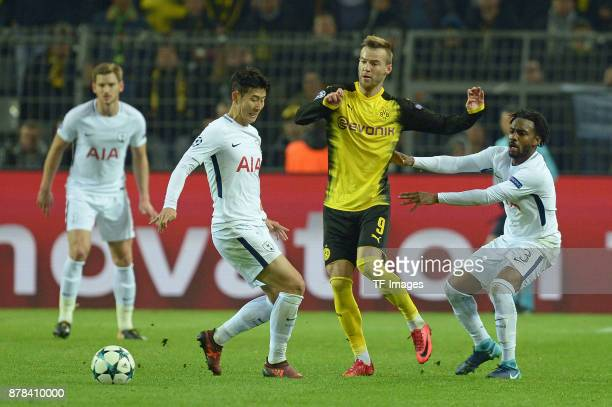 HeungMin Son of Tottenham Hotspur Andrey Yarmolenko of Borussia Dortmund and Danny Rose of Tottenham Hotspur battle for the ball during the UEFA...