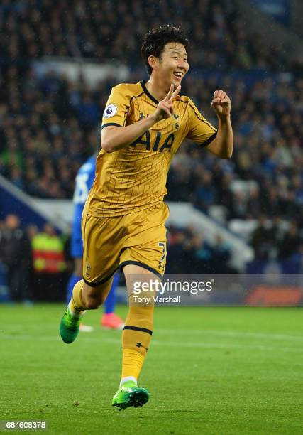 HeungMin Son of Tottenham Hotspur celebrates as he scores their second goal during the Premier League match between Leicester City and Tottenham...