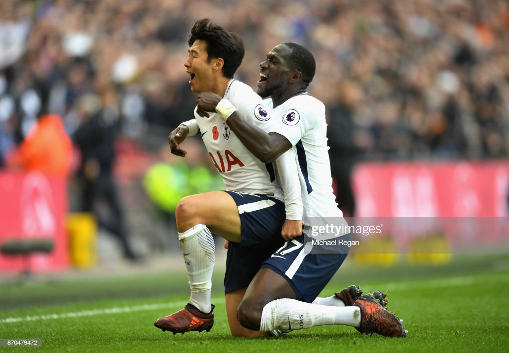 Heung-Min Son of Tottenham Hotspur celebrates scoring his sides first goal with Moussa Sissoko of Tottenham Hotspur during the Premier League match between Tottenham Hotspur and Crystal Palace at Wembley Stadium on November 5, 2017 in London, England.