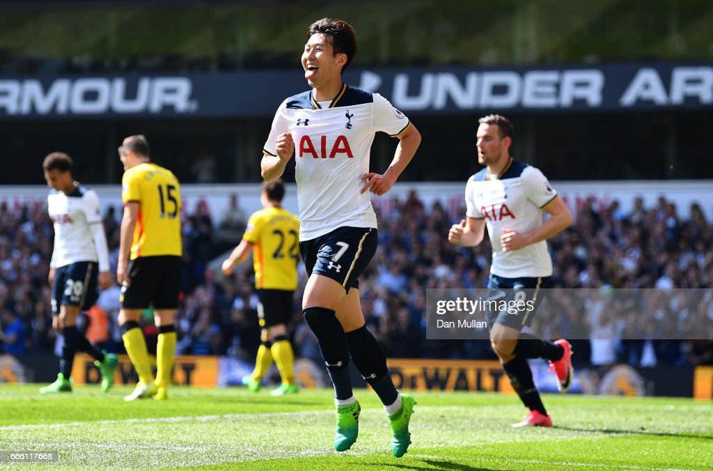 Heung-Min Son of Tottenham Hotspur celebrates scoring his sides fourth goal during the Premier League match between Tottenham Hotspur and Watford at White Hart Lane on April 8, 2017 in London, England.