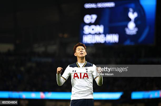 HeungMin Son of Tottenham Hotspur celebrates scoring his sides second goal during the Premier League match between Manchester City and Tottenham...