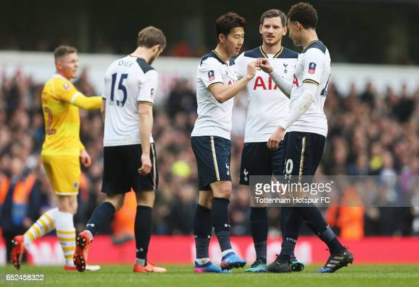HeungMin Son of Tottenham Hotspur celebrates scoring his sides second goal with Dele Alli of Tottenham Hotspur during The Emirates FA Cup...