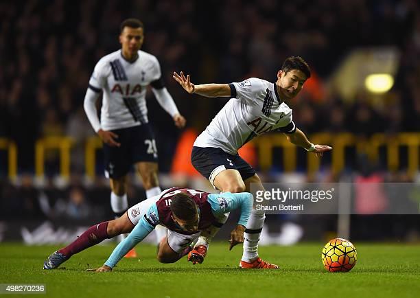 HeungMin Son of Tottenham Hotspur challenges Manuel Lanzini of West Ham United during the Barclays Premier League match between Tottenham Hotspur and...