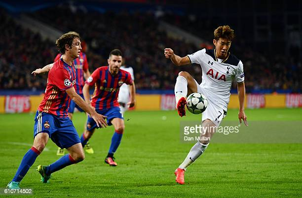 HeungMin Son of Tottenham Hotspur controls the ball during the UEFA Champions League Group E match between PFC CSKA Moskva and Tottenham Hotspur FC...