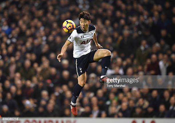HeungMin son of Tottenham Hotspur during the Barclays Premier League match between Tottenham Hotspur and Burnley at White Hart Lane on December 18...