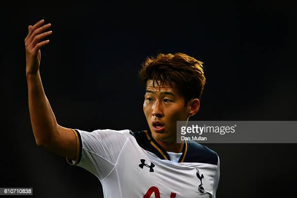 HeungMin Son of Tottenham Hotspur gestures during the UEFA Champions League Group E match between PFC CSKA Moskva and Tottenham Hotspur FC at Stadion...