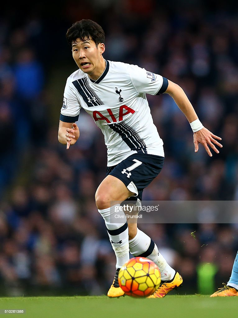 <a gi-track='captionPersonalityLinkClicked' href=/galleries/search?phrase=Heung-Min+Son&family=editorial&specificpeople=7118687 ng-click='$event.stopPropagation()'>Heung-Min Son</a> of Tottenham Hotspur in action during the Barclays Premier League match between Manchester City and Tottenham Hotspur at Etihad Stadium on February 14, 2016 in Manchester, England.
