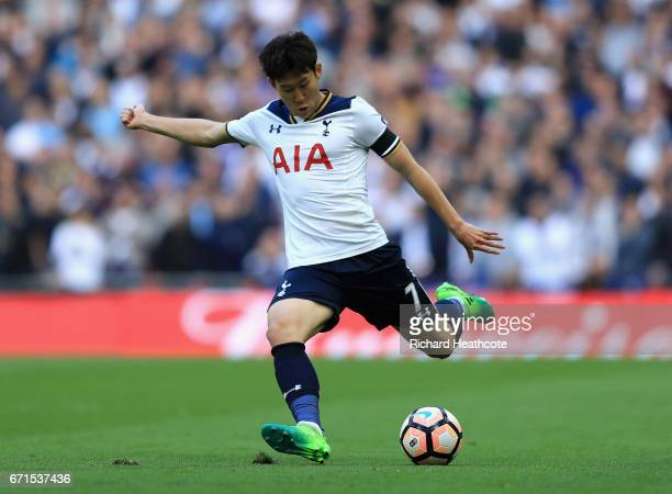 HeungMin Son of Tottenham Hotspur in action during The Emirates FA Cup SemiFinal between Chelsea and Tottenham Hotspur at Wembley Stadium on April 22...