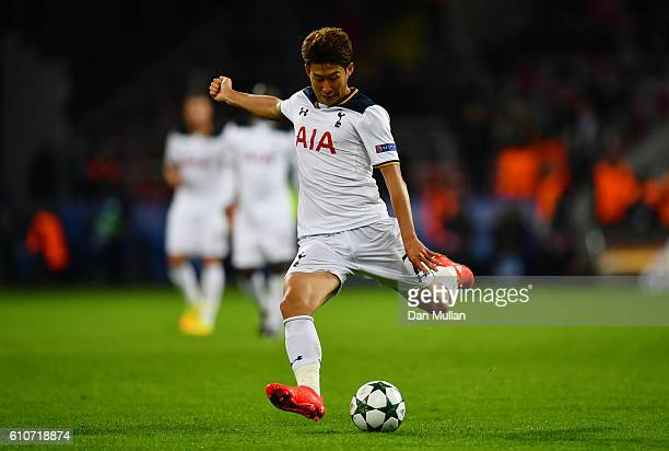 HeungMin Son of Tottenham Hotspur in action during the UEFA Champions League Group E match between PFC CSKA Moskva and Tottenham Hotspur FC at...