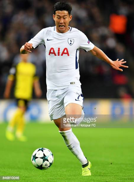 HeungMin Son of Tottenham Hotspur in action during the UEFA Champions League group H match between Tottenham Hotspur and Borussia Dortmund at Wembley...