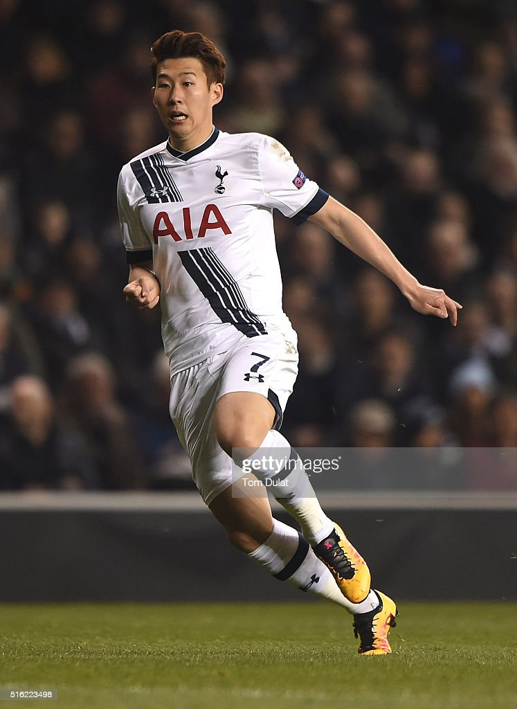 Heung-Min Son of Tottenham Hotspur in action during the UEFA Europa League Round of 16 Second Leg match between Tottenham Hotspur and Borussia Dortmund at White Hart Lane on March 17, 2016 in London, England. (Photo by Tom Dulat/Getty Images).