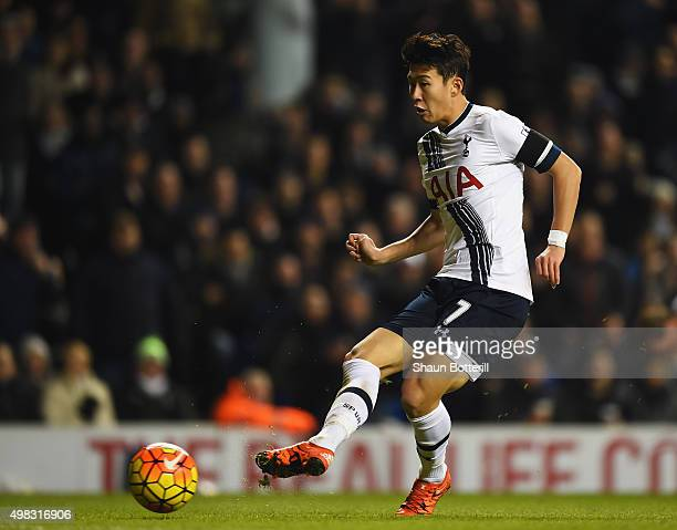HeungMin Son of Tottenham Hotspur passes during the Barclays Premier League match between Tottenham Hotspur and West Ham United at White Hart Lane on...