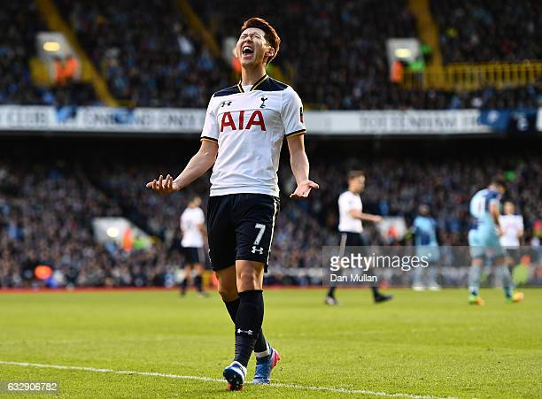 HeungMin Son of Tottenham Hotspur reacts after a missed chance during the Emirates FA Cup Fourth Round match between Tottenham Hotspur and Wycombe...