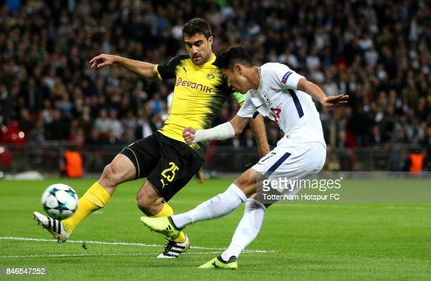 HeungMin Son of Tottenham Hotspur scores his sides first goal during the UEFA Champions League group H match between Tottenham Hotspur and Borussia...