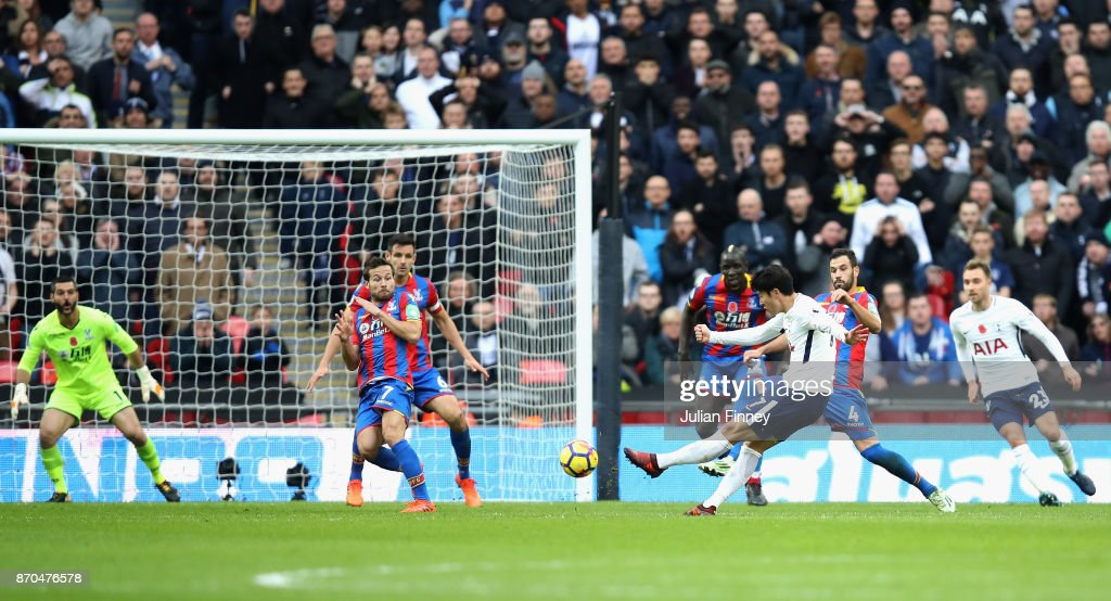 Heung-Min Son of Tottenham Hotspur scores his sides first goal during the Premier League match between Tottenham Hotspur and Crystal Palace at Wembley Stadium on November 5, 2017 in London, England.