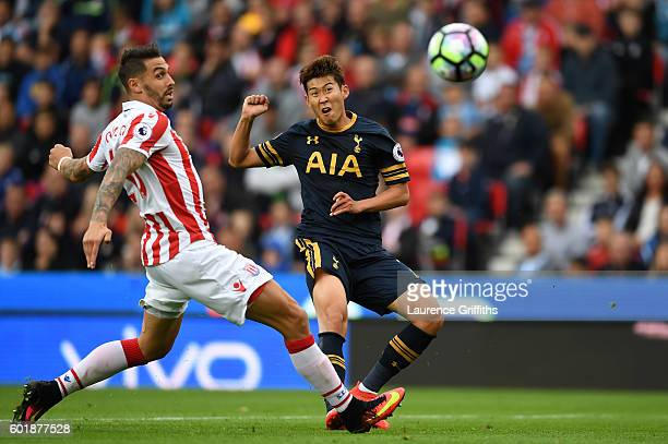 HeungMin Son of Tottenham Hotspur scores his sides second goal during the Premier League match between Stoke City and Tottenham Hotspur at Britannia...