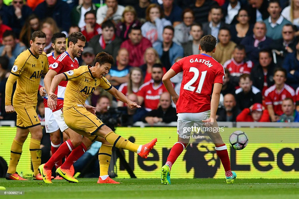 Heung-Min Son of Tottenham Hotspur scores his sides second goal during the Premier League match between Middlesbrough and Tottenham Hotspur at the Riverside Stadium on September 24, 2016 in Middlesbrough, England.
