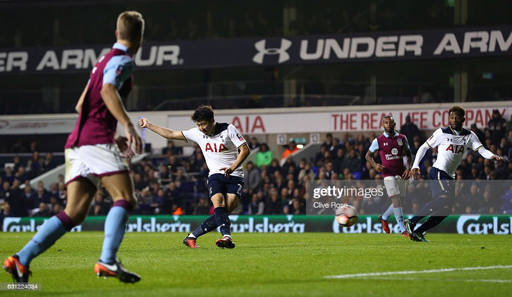 Heung-Min Son of Tottenham Hotspur scores his sides second goal during The Emirates FA Cup Third Round match between Tottenham Hotspur and Aston Villa at White Hart Lane on January 8, 2017 in London, England.