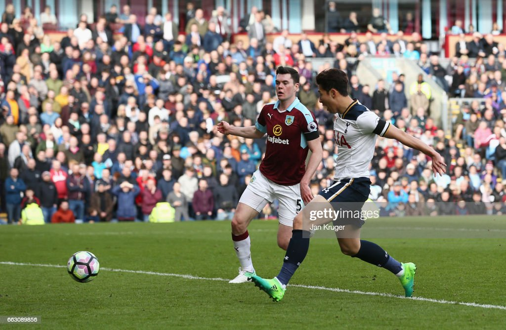Heung-Min Son of Tottenham Hotspur (R) scores his sides second goal during the Premier League match between Burnley and Tottenham Hotspur at Turf Moor on April 1, 2017 in Burnley, England.