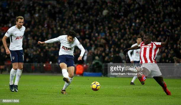 HeungMin Son of Tottenham Hotspur scores his sides second goal during the Premier League match between Tottenham Hotspur and Stoke City at Wembley...