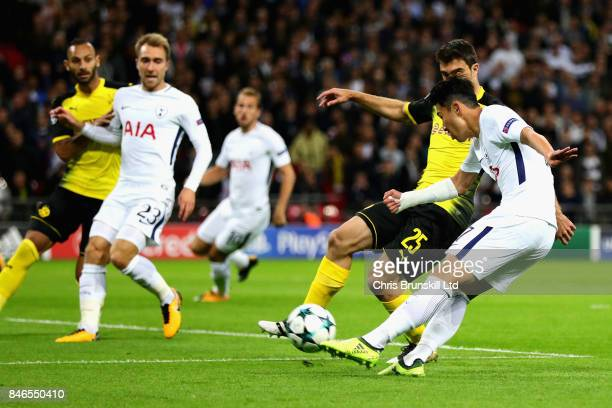HeungMin Son of Tottenham Hotspur scores the opening goal during the UEFA Champions League group H match between Tottenham Hotspur and Borussia...