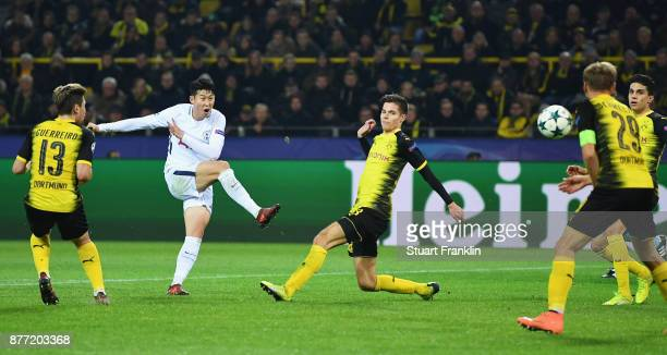 HeungMin Son of Tottenham Hotspur scores their second goal during the UEFA Champions League group H match between Borussia Dortmund and Tottenham...