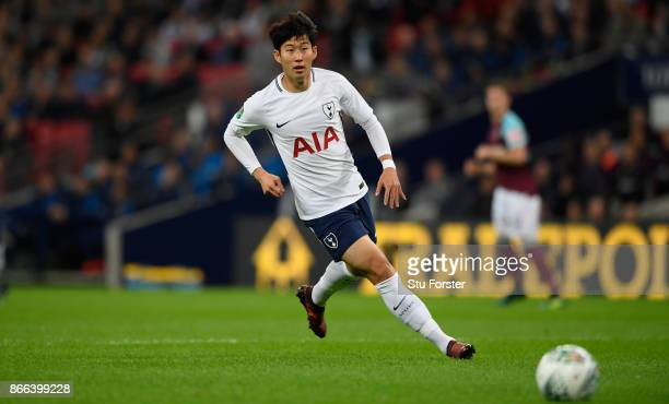 HeungMin Son of Tottenham Hotspurin action during the Carabao Cup Fourth Round match between Tottenham Hotspur and West Ham United at Wembley Stadium...