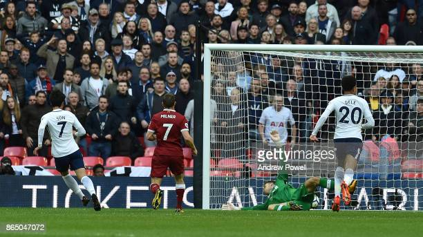 HeungMin Son scores the second for Tottenham j during the Premier League match between Tottenham Hotspur and Liverpool at Wembley Stadium on October...