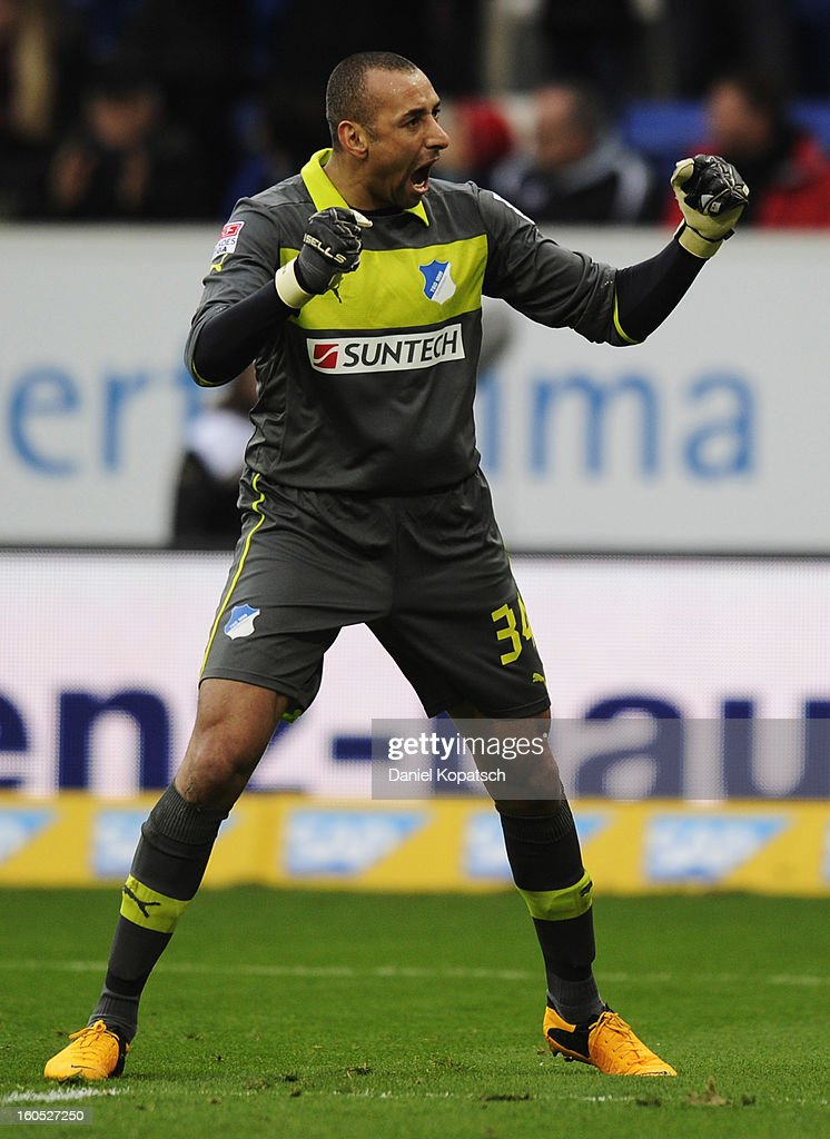 Heurelho Gomes of Hoffenheim celebrates his team's first goal during the Bundesliga match between TSG 1899 Hoffenheim and Sc Freiburg at Rhein-Neckar-Arena on February 2, 2013 in Sinsheim, Germany.