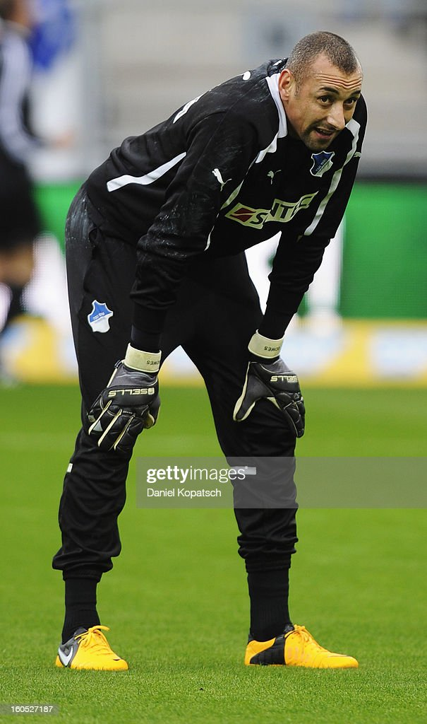 Heurelho Gomes of Hoffenheim looks on prior to the Bundesliga match between TSG 1899 Hoffenheim and Sc Freiburg at Rhein-Neckar-Arena on February 2, 2013 in Sinsheim, Germany.