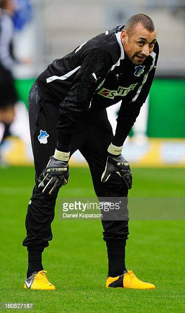 Heurelho Gomes of Hoffenheim looks on prior to the Bundesliga match between TSG 1899 Hoffenheim and Sc Freiburg at RheinNeckarArena on February 2...