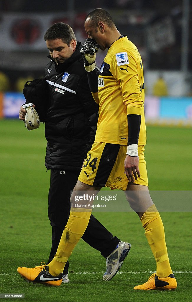Heurelho Gomes of Hoffenheim walks off after a possible injury during the Bundesliga match between TSG 1899 Hoffenheim and Fortuna Duesseldorf 1895 at Rhein-Neckar-Arena on April 5, 2013 in Sinsheim, Germany.