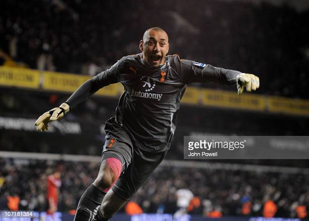 Heurelho Gomes of Tottenham Hotspur celebrates after Aaron Lennon scored the winning goal during the Barclays Premier League match between Tottenham...