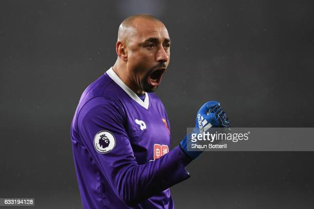 Heurelho Gomes of Watford celebrate a goal during the Premier League match between Arsenal and Watford at Emirates Stadium on January 31 2017 in...