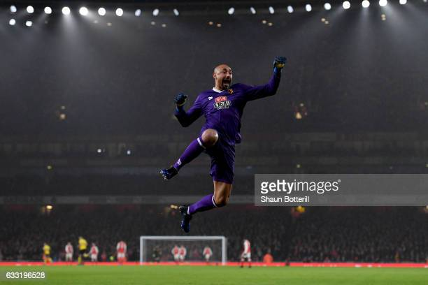 Heurelho Gomes of Watford celebrates a goal during the Premier League match between Arsenal and Watford at Emirates Stadium on January 31 2017 in...