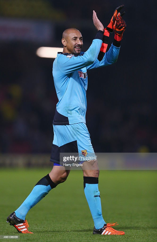 Heurelho Gomes of Watford celebrates his team's 2-0 win in the Barclays Premier League match between Watford and West Ham United at Vicarage Road on October 31, 2015 in Watford, England.