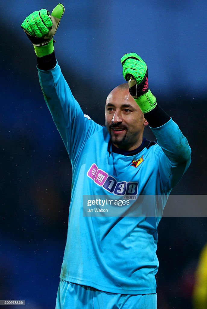 Heurelho Gomes of Watford celebrates his team's 2-1 win in the Barclays Premier League match between Crystal Palace and Watford at Selhurst Park on February 13, 2016 in London, England.
