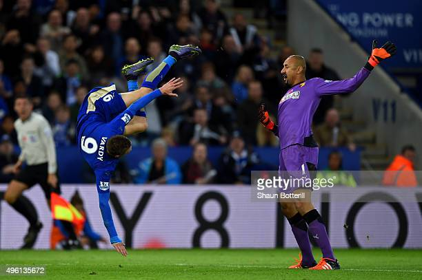 Heurelho Gomes of Watford fouls Jamie Vardy of Leicester City in the penalty area resulting in a penalty for Leicester during the Barclays Premier...